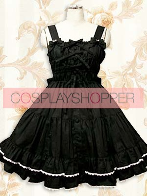 Sweet Black Sleeveless Ruffle Lolita Dress