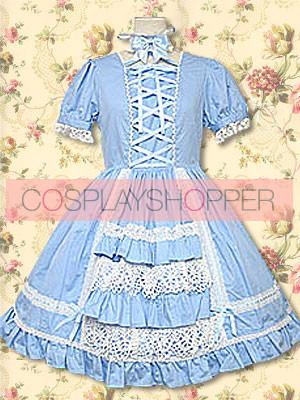 Blue Puff Short Sleeves Lace Ruffles Sweet Lolita Dress