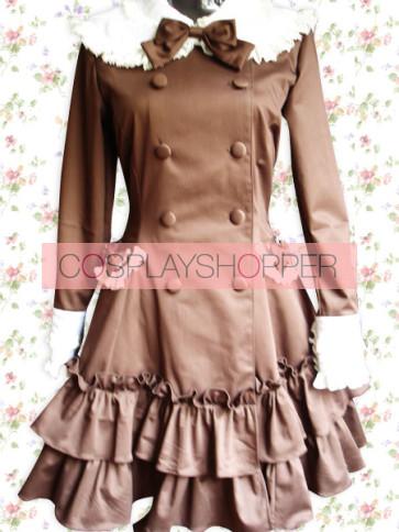 Chocolate Long Sleeves Ruffles Sweet Lolita Dress