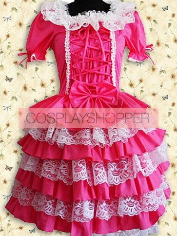 Fuchsia Red and White Puff Short Sleeves Lace Sweet Lolita Dress