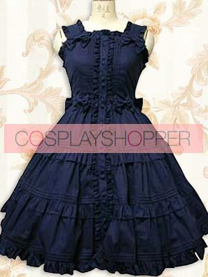 Deep Blue Sleeveless Ruffle Sweet Lolita Dress