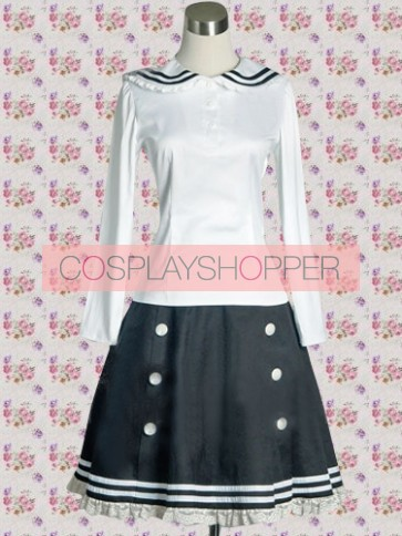 White and Blue Long Sleeves School Blouse With Lolita Skirt