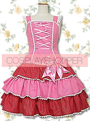 Pink And Red Sleeveless Lace Sweet Lolita Dress