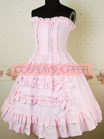 Pink Sleeveless Gathered Ruffles Bow Sweet Lolita Dress