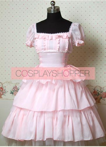 Pink Short Sleeves Square Collar Lovely Cake Lolita Dress