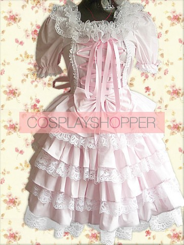 Pink Puff Short Sleeves Lace Front Ties Sweet Lolita Dress