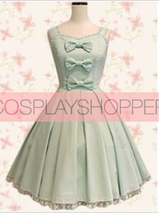 Light Green Sleeveless Bow Cute Lolita Dress