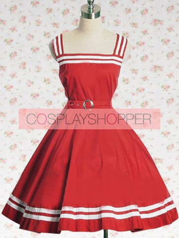 Red Sash Sleeveless School Lolita Dress