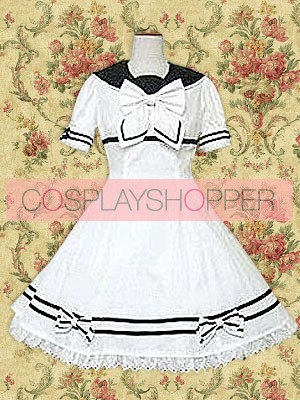 White Short Sleeves Bow School Lolita Dress