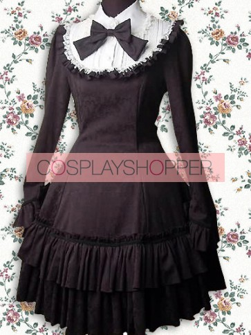 Black and White Long Sleeves Ruffle Classic Bow School Lolita Dress
