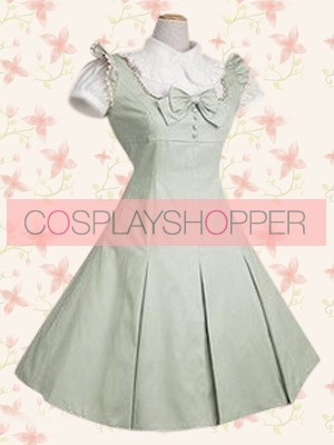 Lightgreen Short Sleeves Classic Bow School Lolita Dress