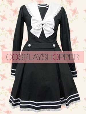Black Long Sleeves School Lolita Dress With White Bow