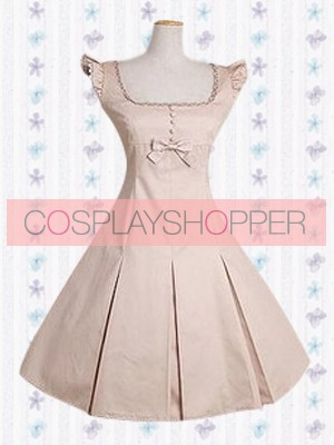 Light Pink Classic Sleeveless Square Neck Bow School Lolita Dress