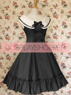 Black Sleeveless Buttons Bow School Lolita Dress