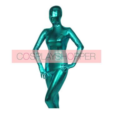 Lack Blue Shiny Metallic Unisex Zentai Suit