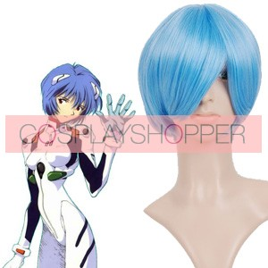 Light Blue 32cm Neon Genesis Evangelion Rei Ayanami Nylon Cosplay Wig