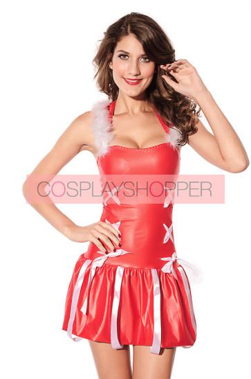 Lovely Red Hooded Bow Santa Christmas Costume