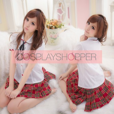Lovely Red Plaid Pattern Short Sleeves School Girl Costume