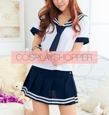 Lovely Short Sleeves Sexy Girl School Uniform Cosplay Costume