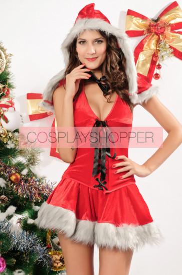Lovely Velvet Hooded Lady Christmas Holiday Costume