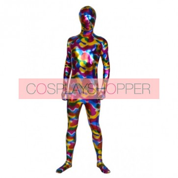 Multicolor Full Body Shiny Metallic Unisex Zentai Suit
