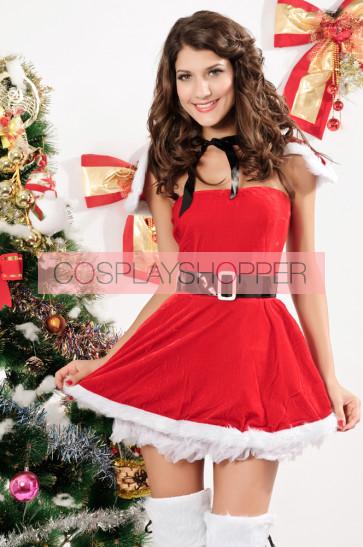 Naughty and Beautiful Velvet Girls Christmas Costume