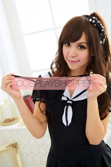 Naughty Black Short Sleeves School Girl Uniform