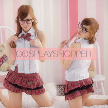 Naughty Red Plaid Pattern Sleeveless School Girl Costume