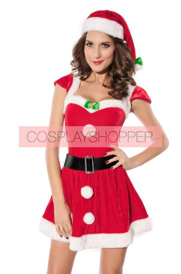 Naughty Velvet Girls Christmas Holiday Costume