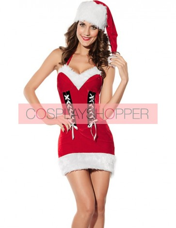 Naughty Velvet Santa Girls Christmas Dress