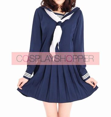 Navy Blue Long Sleeves Girl Sailor School Uniform Cosplay Costume