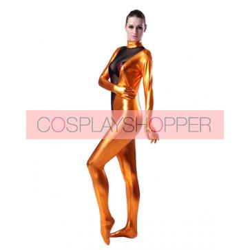 Orange And Black Full Body Shiny Metallic Unisex Zentai Suit