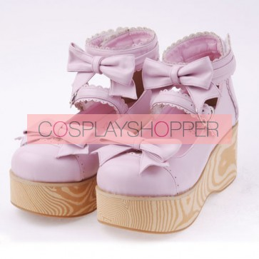 "Pink 2.7"" Heel High Beautiful Patent Leather Round Toe Bow Decoration Platform Women Lolita Shoes"