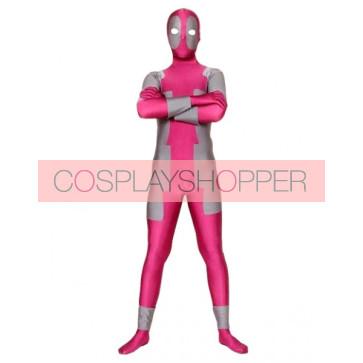 Pink And Grey Ninja Lycra Spandex Zentai Suit