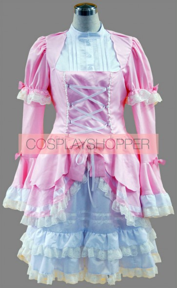 Pink And White Long Sleeves Lace Trim Cotton Sweet Lolita Dress