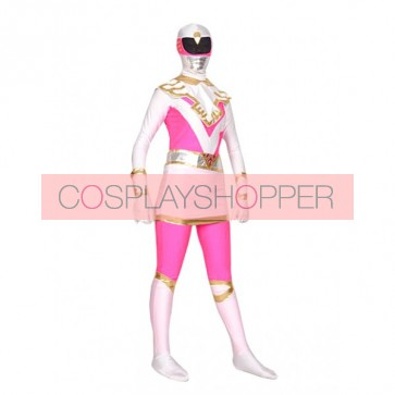 Pink And White Lycra Spandex Superhero Zentai Suit