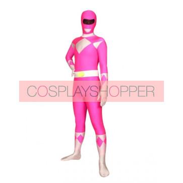 Pink And White Space Warrior Lycra Spandex Superhero Zentai Suit