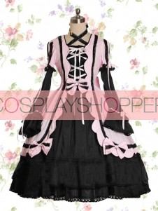 Long Sleeves Pink & Black Cotton Gothic Lolita Dress