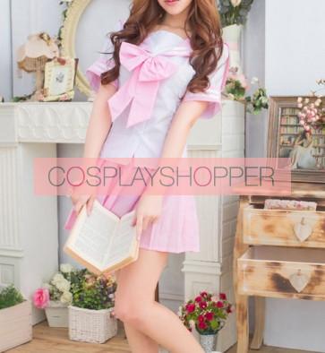 Pink Cute Short Sleeves Girl School Uniform Cosplay Costume