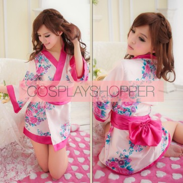 Pink Elegant Floral Print Japanese Kimono
