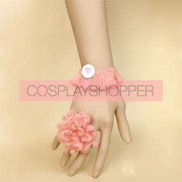 Pink Floral Girls Handmade Lolita Bracelet And Ring Set
