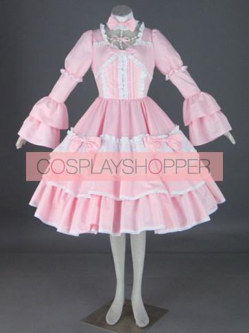 Pink Long Sleeves Cotton Sweet Lolita Dress