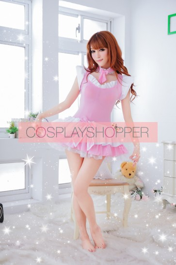 Pink Lovely Bow Lace French Maid Uniform