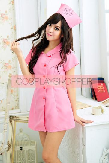 Pink Lovely Short Sleeves Turndown Collar Nurse Costume