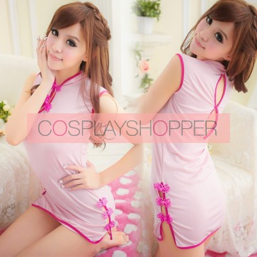 Pink Luxury Floral Pattern Qipao Dress Costume