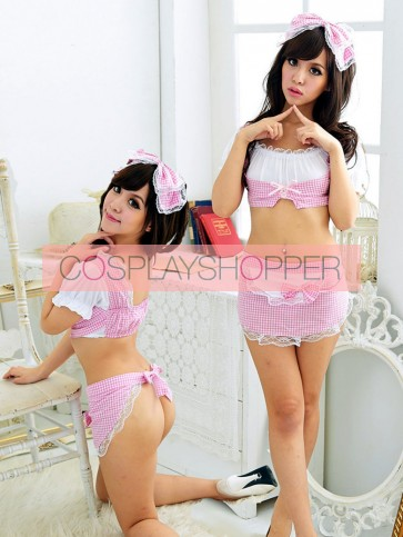 Pink Sexy Bow Two-piece French Maid Costume