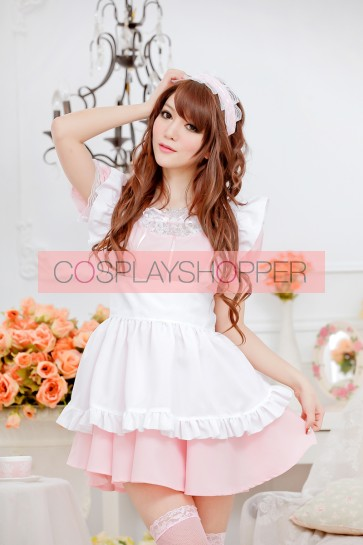 Pink Sweet Short Sleeves Bow Strapless Maid Uniform