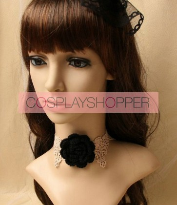 Pretty Coffee Lace Floral Lolita Necklace