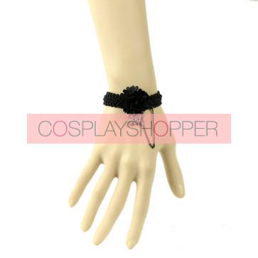 Punk Black Floral Handmade Lolita Wrist Strap