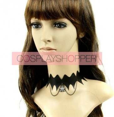 Punk Black Leather Metal Skeleton Lolita Necklace